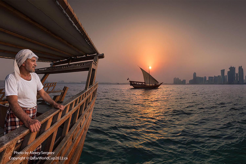 pearl driver looking at doha skyline